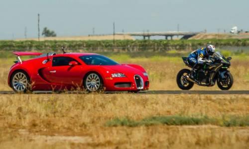Bugatti Veyron contra Kawasaki H2R