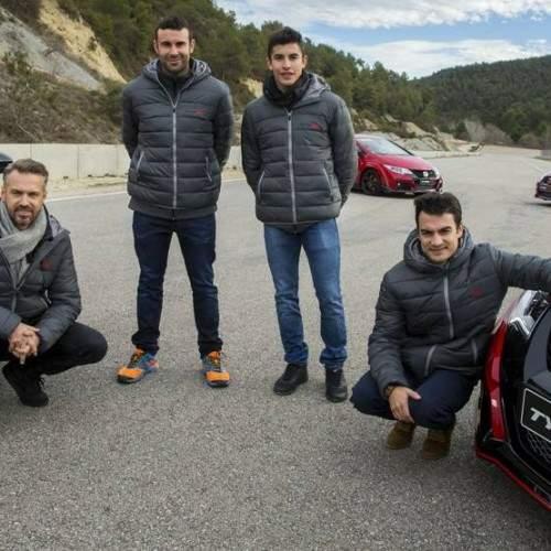 Márquez y Pedrosa prueban el nuevo Honda Civic Type R
