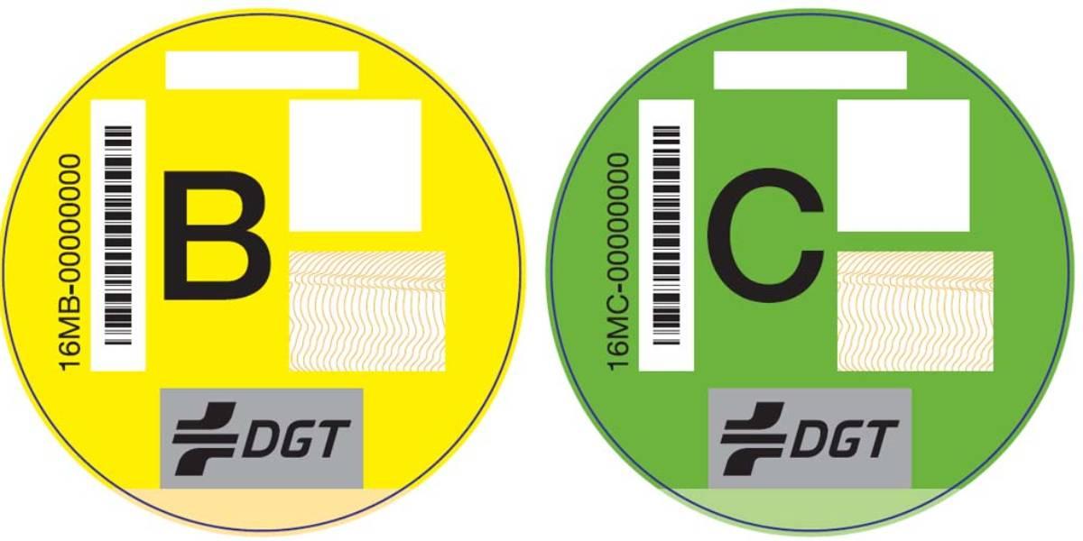 Las etiquetas de la DGT que clasifican los vehículos según emisiones