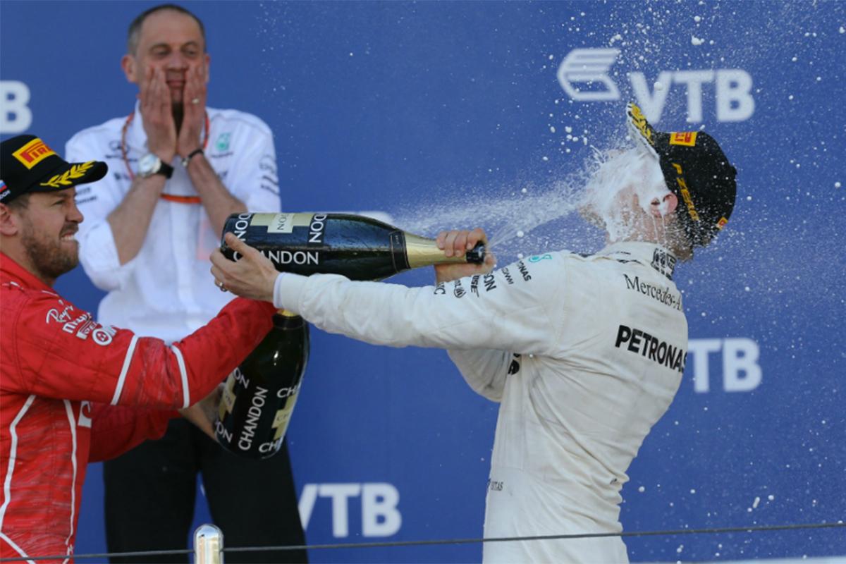 Vettel y Bottas podio GP Rusia F1 2017
