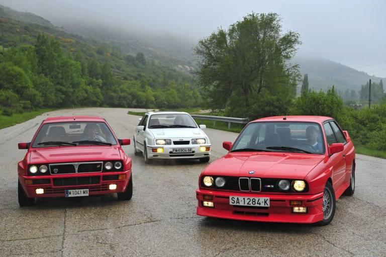 BMW M3 E30 contra Ford Sierra RS Cosworth y Lancia Delta HF Integrale Evo1 parados