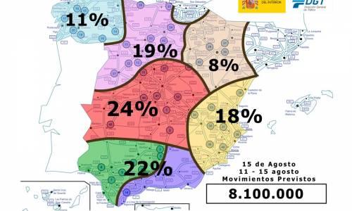 La DGT espera 8 millones de desplazamientos en el puente de agosto
