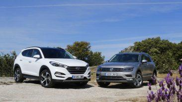 Hyundai Tucson 2.0 CRDI 136 CV o Volkswagen Tiguan 2.0 TDI 150 CV. Frontales