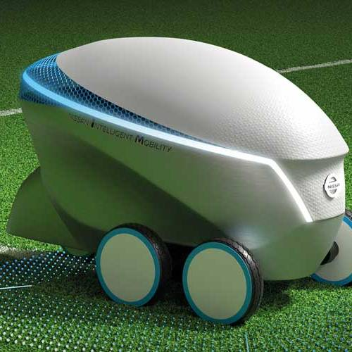 Este robot autónomo de Nissan pinta un campo de fútbol en tiempo récord