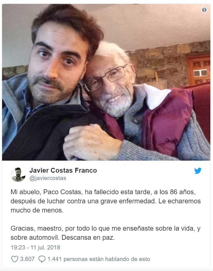 Facelle el periodista Paco Costas, pionero en seguridad vial