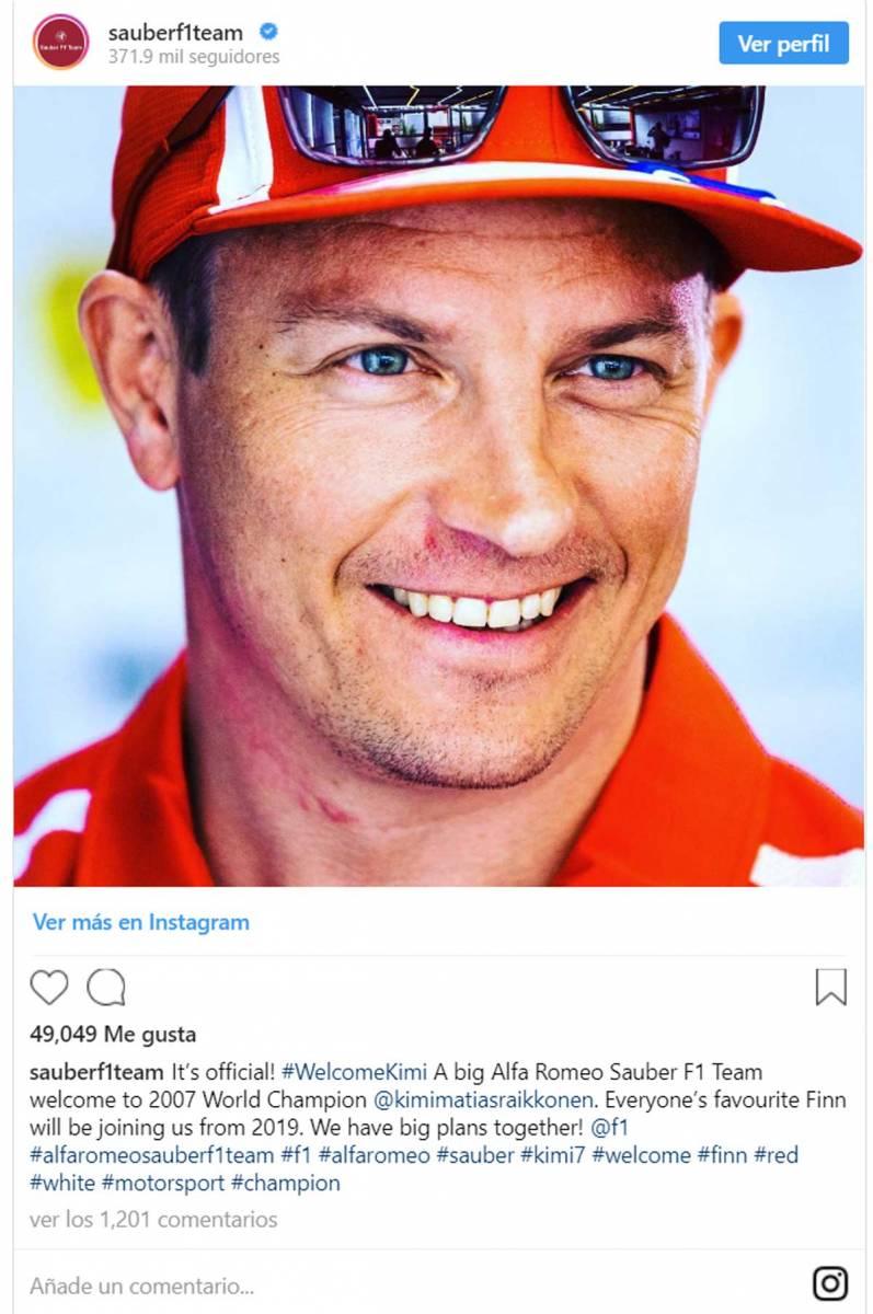 Kimi Räikkönen firma dos años con el Alfa Romeo Sauber F1 Team
