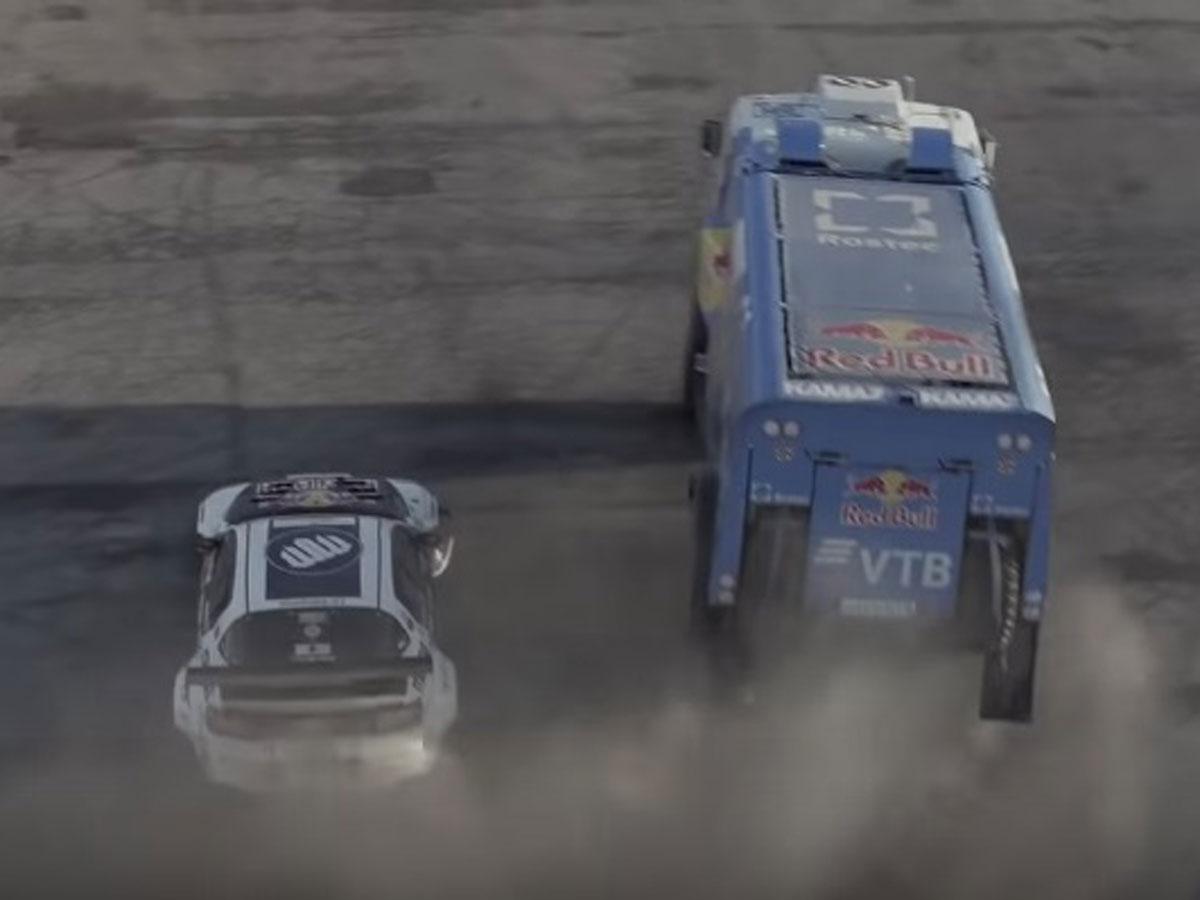 Drifting entre Mazda RX-8 y camión Kamaz