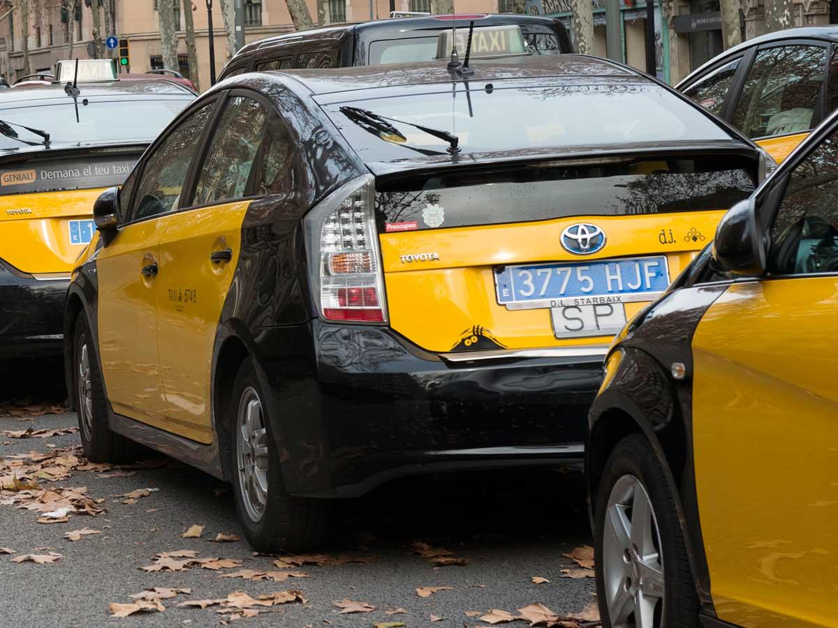 matrícula de coche taxi