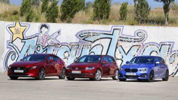 Comparativa BMW 118i Aut vs Mazda3 Skyactiv-G 122 CV vs Volkswagen Golf TSI 130 CV DSG