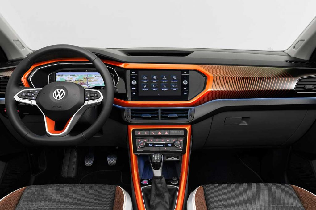 volkswagen t-cross interior naranja