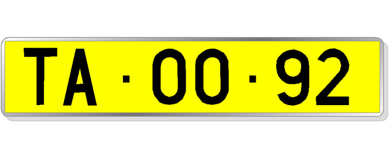 Matrícula diplomática: letras negras sobre fondo amarillo